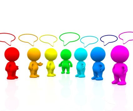 3D colourful people with talk bubbles isolated over a white background